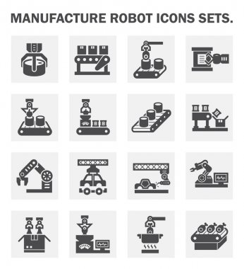 Manufacture robot icons sets. stock vector
