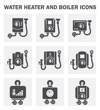 Water heater and boiler icons. clip art vector