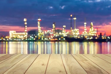 Bokeh of oil refinery at twilight. stock vector