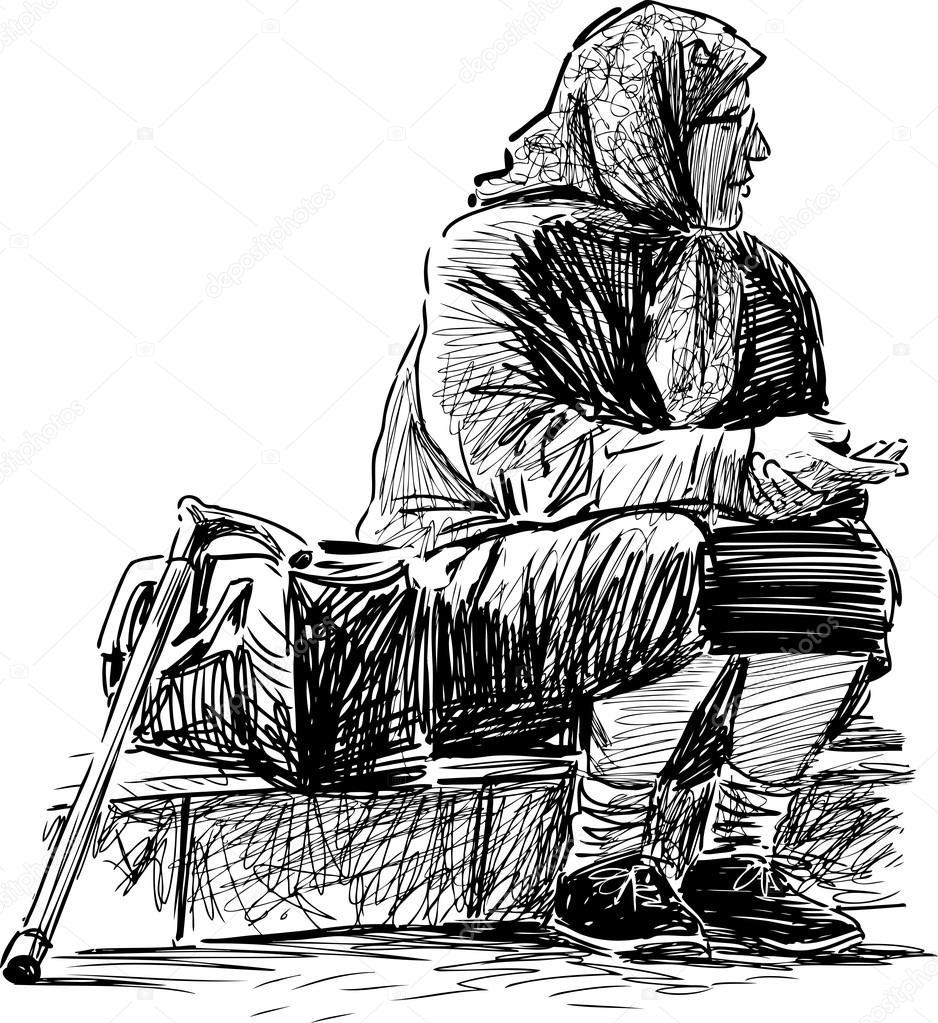 Poor old woman — Stock Vector © alekseimakarov #82671612