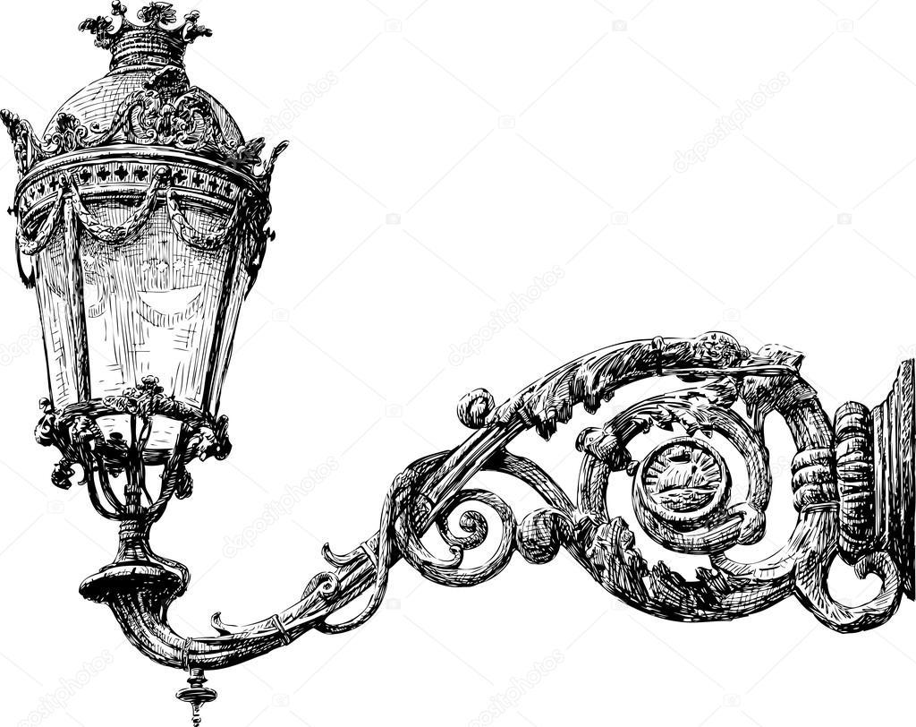 Ornate street light — Stock Vector © alekseimakarov #82703946 for Street Light Drawing  585eri