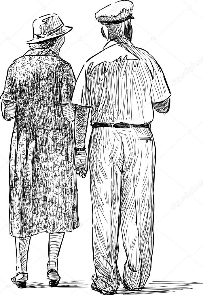 Disegni Di Persone Anziane.Coniugi Anziani Vettoriali Stock C Alekseimakarov 84480486