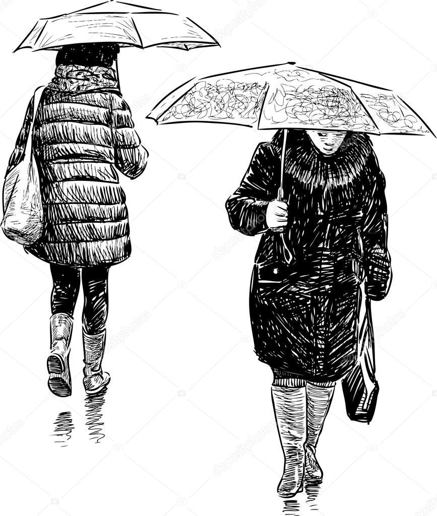 lässig Fußgänger im Regen — Stockvektor © alekseimakarov #85246006