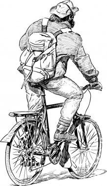 man travelling on a bicycle