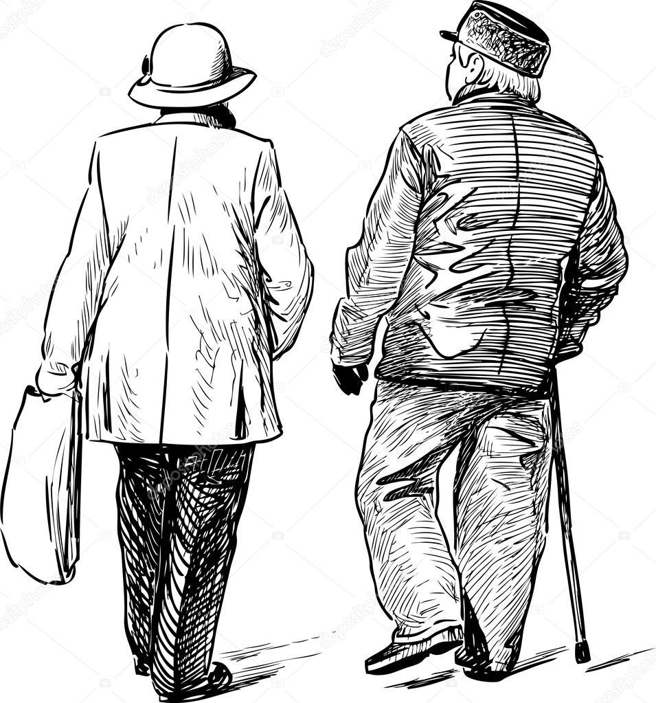 Disegni Di Persone Anziane.Vettore Coppia Anziani Disegno Coppie Di Anziani Che
