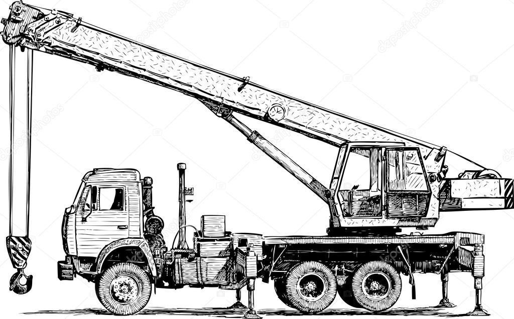 Vector Crane Sketch Mobile Crane Sketch Stock Vector