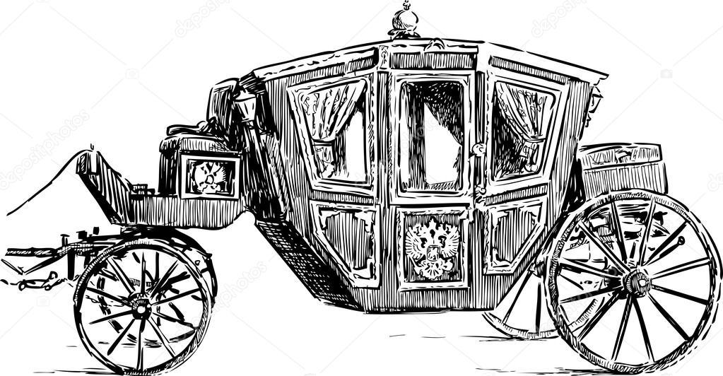 Dessin Carrosse dessin de vieux carrosse — image vectorielle alekseimakarov © #88225224