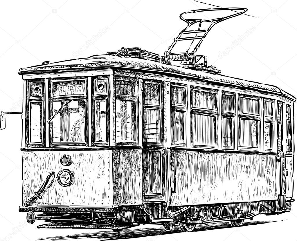 old tram on the city street — Stock Vector © alekseimakarov #88898176