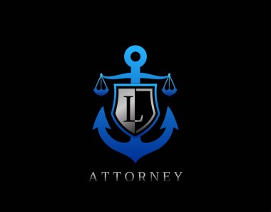 Marine Law L Letter Logo. Perfect for for law firm, company, lawyer or attorney office logo. icon