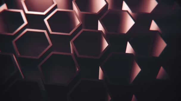 Tmavě fialové rotující izometrické šestiúhelníky. Looping, full hd motion background.