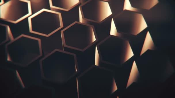 Braune rotierende isometrische Sechsecke. Loopable, Full-HD-Bewegungshintergrund.