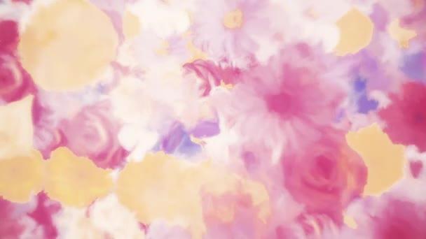 Abstraktní květinový pohyb pozadí animace ve stylu akvarelové malby. Mezi květiny patří alstroemeria, karafiáty, chryzantémy, sedmikrásky, gerber, gladiola, hortenzie a růže. Full HD a bezešvé smyčky.