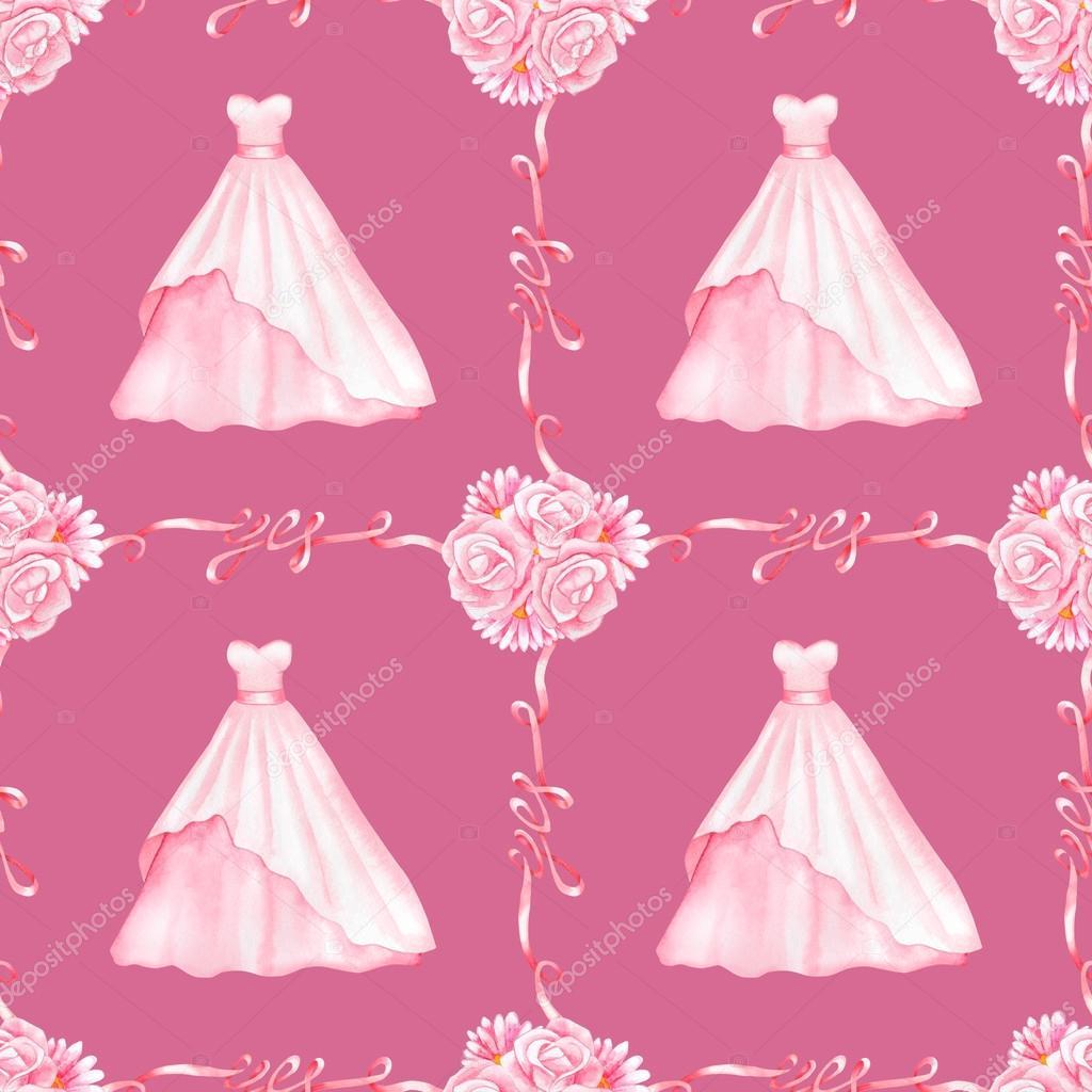 Boda vestido acuarela de patrones sin fisuras — Foto de stock ...