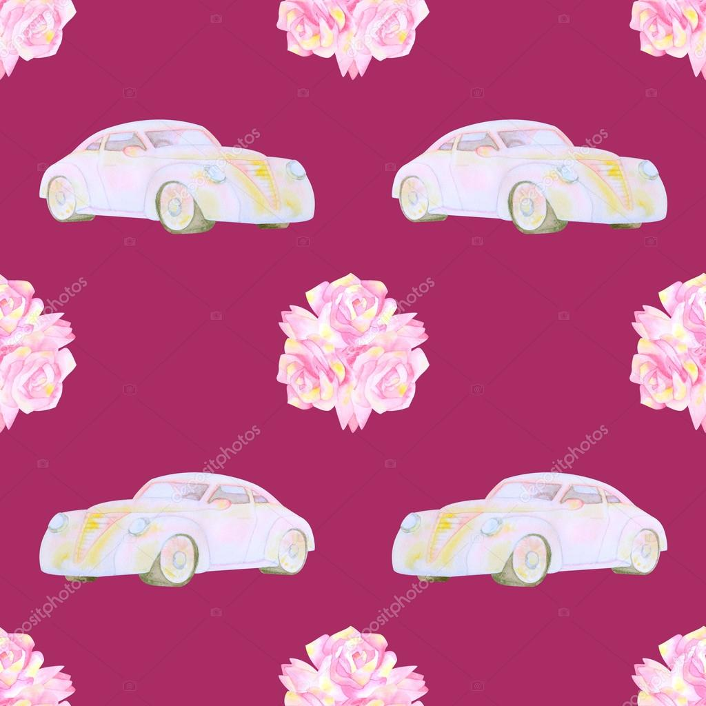 Watercolour seamless pattern with cars and flowers — Stock Photo ...