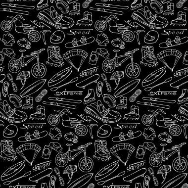 "Картина, постер, плакат, фотообои ""Extreme doodle seamless pattern"", артикул 113472806"