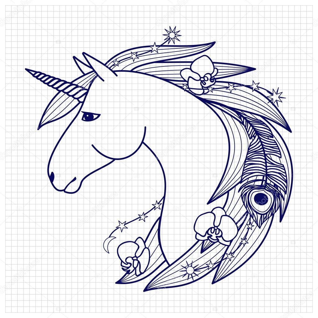 Unicorn On Squared Paper Stock Vector C Kronalux 117259512