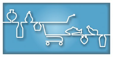 Icon with supermarket trolley and foodstuff