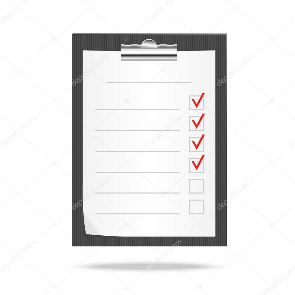 ilustra o em vetor de uma prancheta e lista de verifica o com a verifica o de tarefas. Black Bedroom Furniture Sets. Home Design Ideas