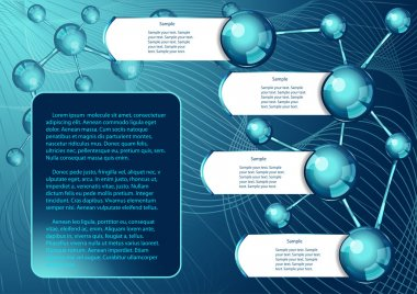 Background with molecular structure and text places