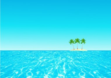 Background with ocean, island and palms