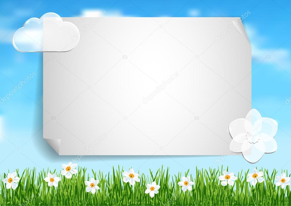 Background with grass, white flowers and leaf of paper