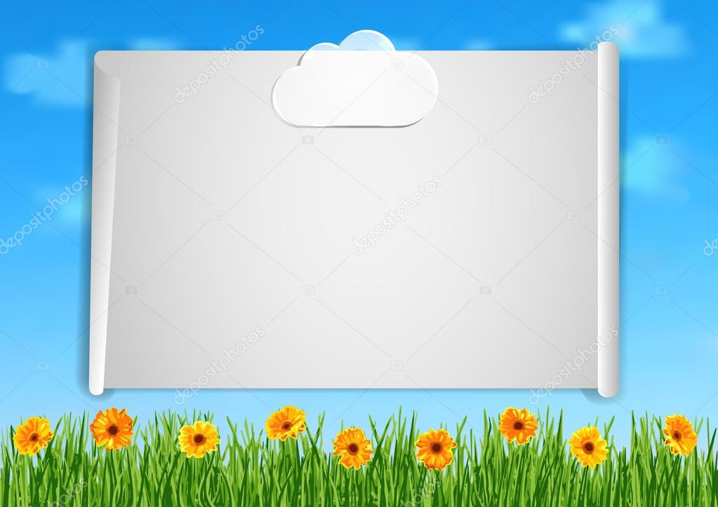 Background with grass, orange gerbera flowers and leaf of paper