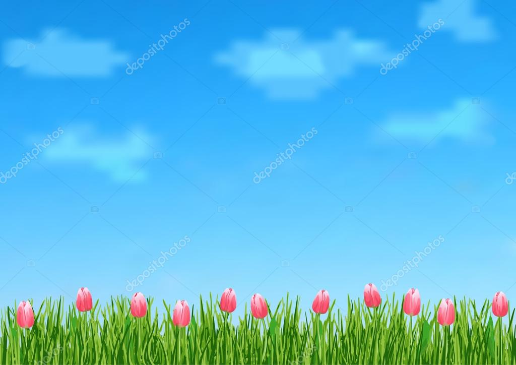 Background with grass and tulips