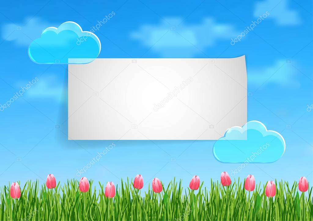 Background with grass, tulips  and leaf of paper