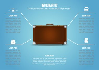 Info graphic Suitcase with freight transportation