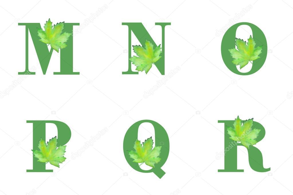 Alfabeto con hojas — Vector de stock © KronaLux #83822900