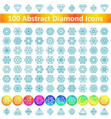 Set 100 Abstract Diamond Icons
