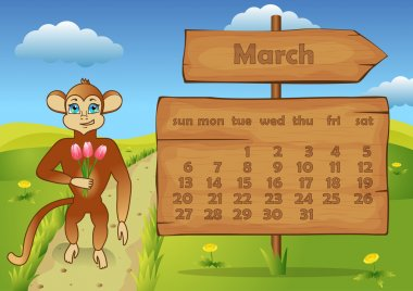 Calendar 2016 year with Monkey. March
