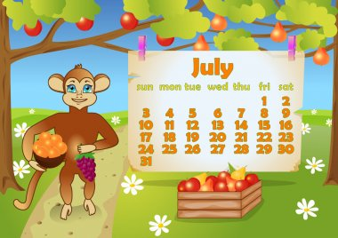 Calendar 2016 year with Monkey. July