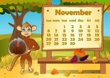 Calendar 2016 year with Monkey. November