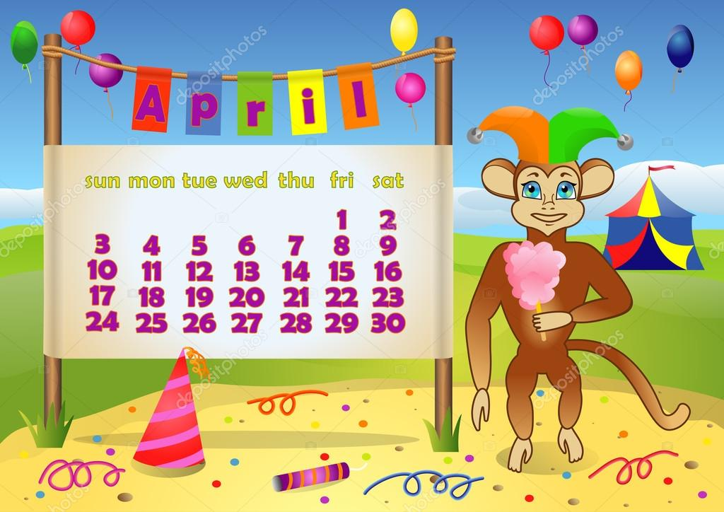 Calendar 2016 year with Monkey. April