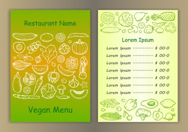 Restaurant vegetarian menu with  hand drawn doodle elements