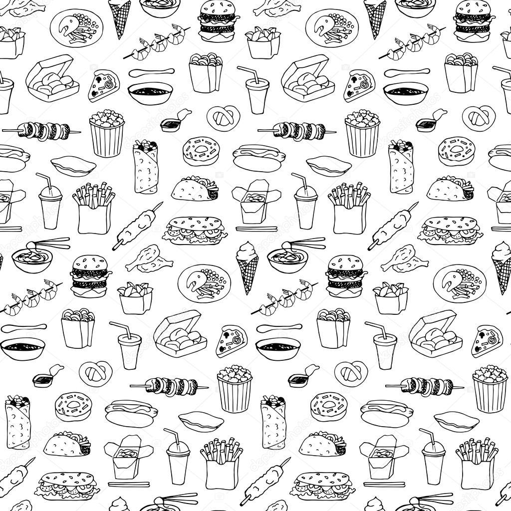 Patron para doodle dibujado a mano comida rápida — Vector de stock ...