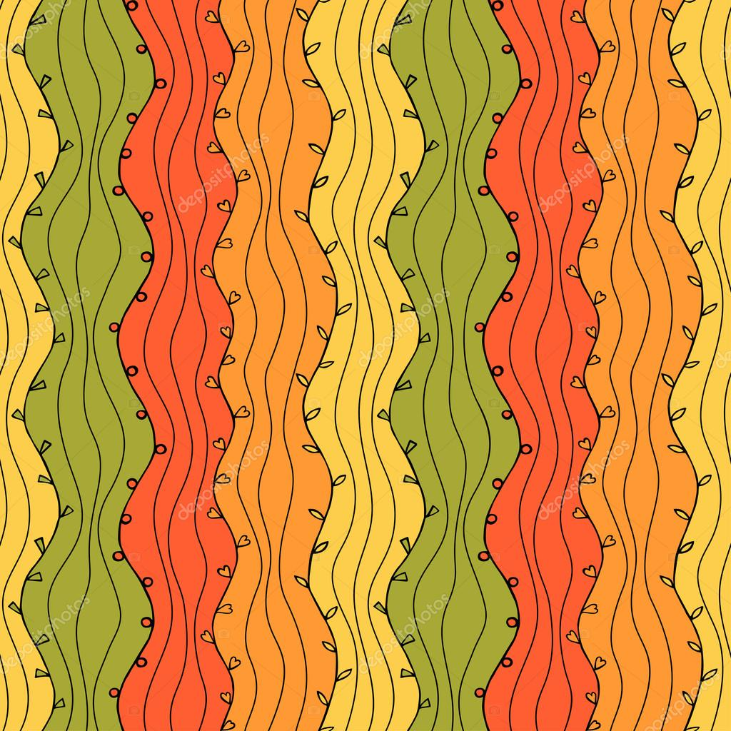Seamless Abstract Hand Drawn Wave Pattern. Autumn