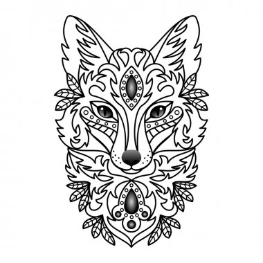 Vector illustration of abstract, stylized fox for textile prints, tattoo,  web and graphic design stock vector