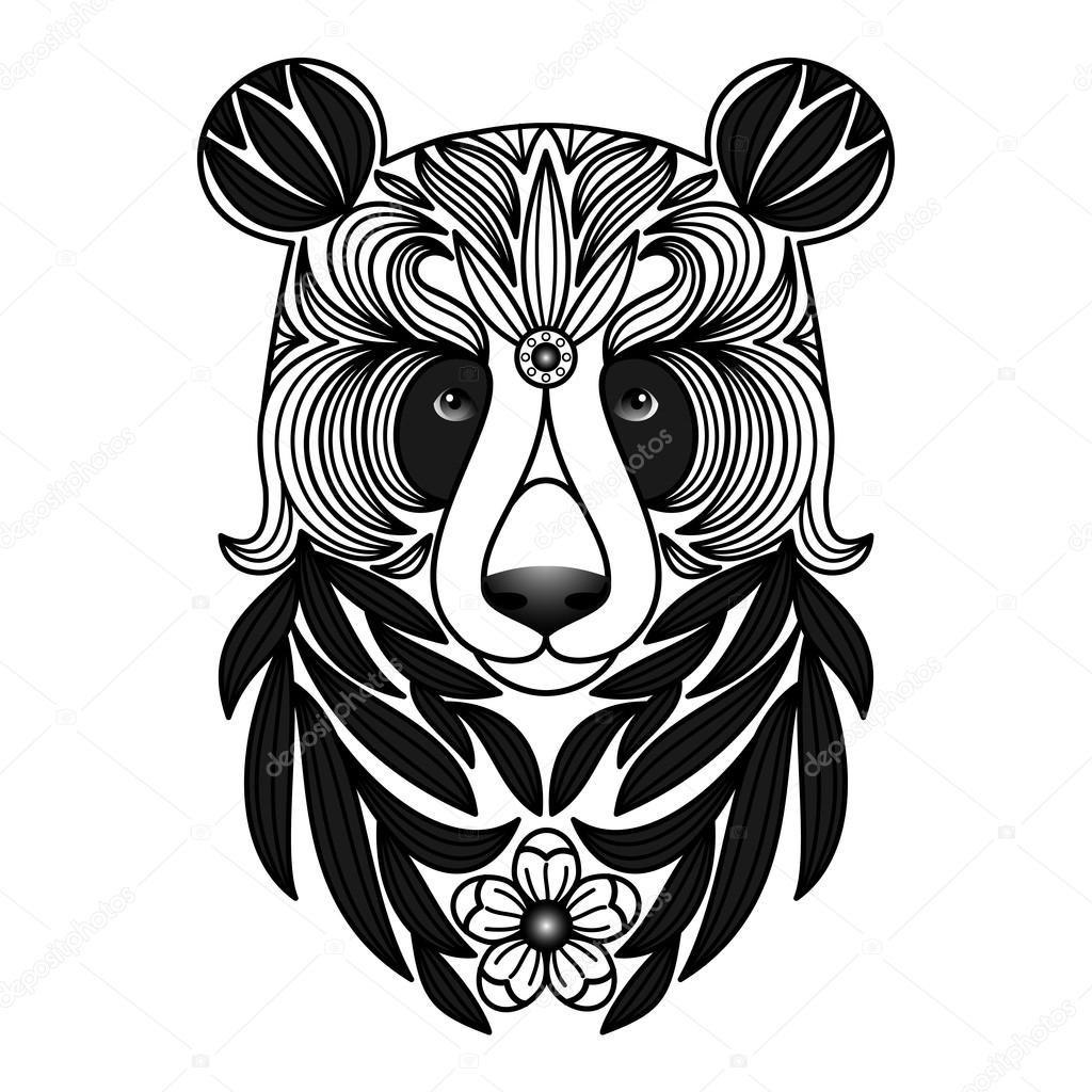 Tatuaje De Panda Blanco Y Negro Archivo Imágenes Vectoriales