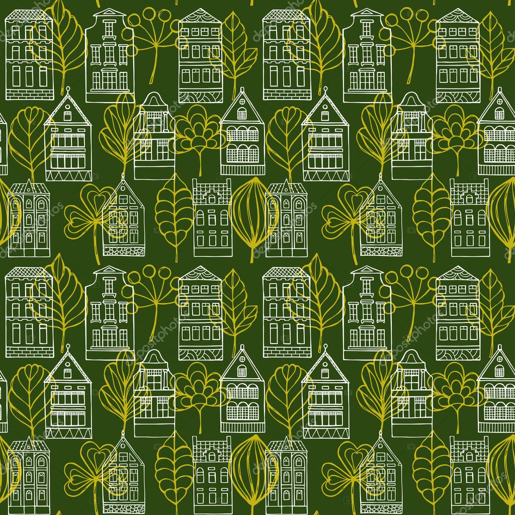 Seamless pattern with houses and leafs