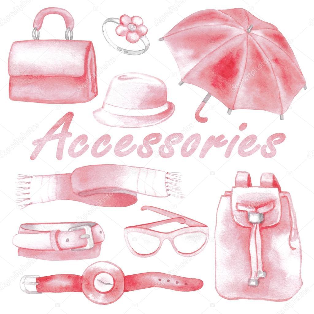 Pink woman accessories big set