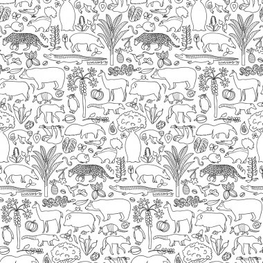 Hand drawn South America seamless pattern