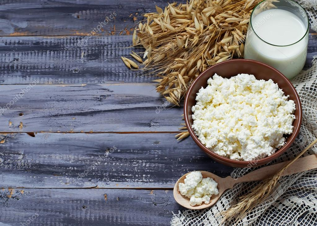 Dairy products milk and cottage cheese for jewish holiday Shavuo
