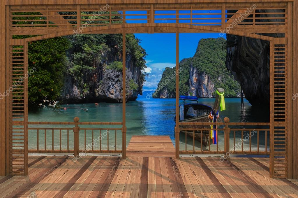 Wooden terrace with sea views