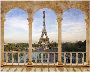 "Картина, постер, плакат, фотообои ""терраса с видом на париж фрески"", артикул 64744809"