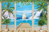 wooden terrace with sea view