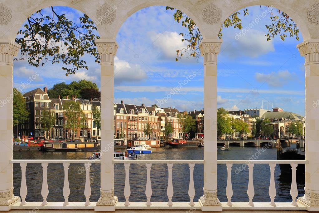 Terrace With View Over Amsterdam Stock Photo Pashtett