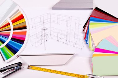 The color palette and the drawing of kitchen design