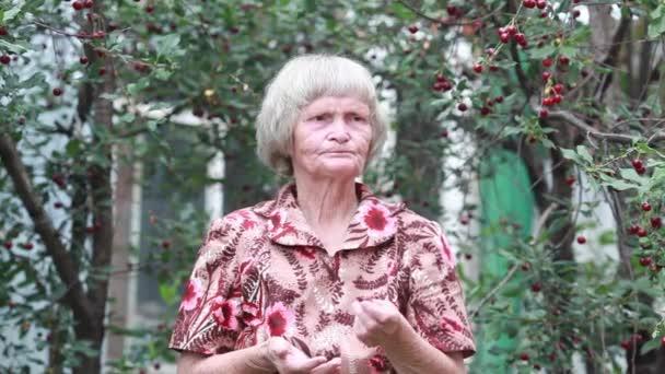 die alte Frau isst an einem Sommertag im Kirschgarten eine Kirsche